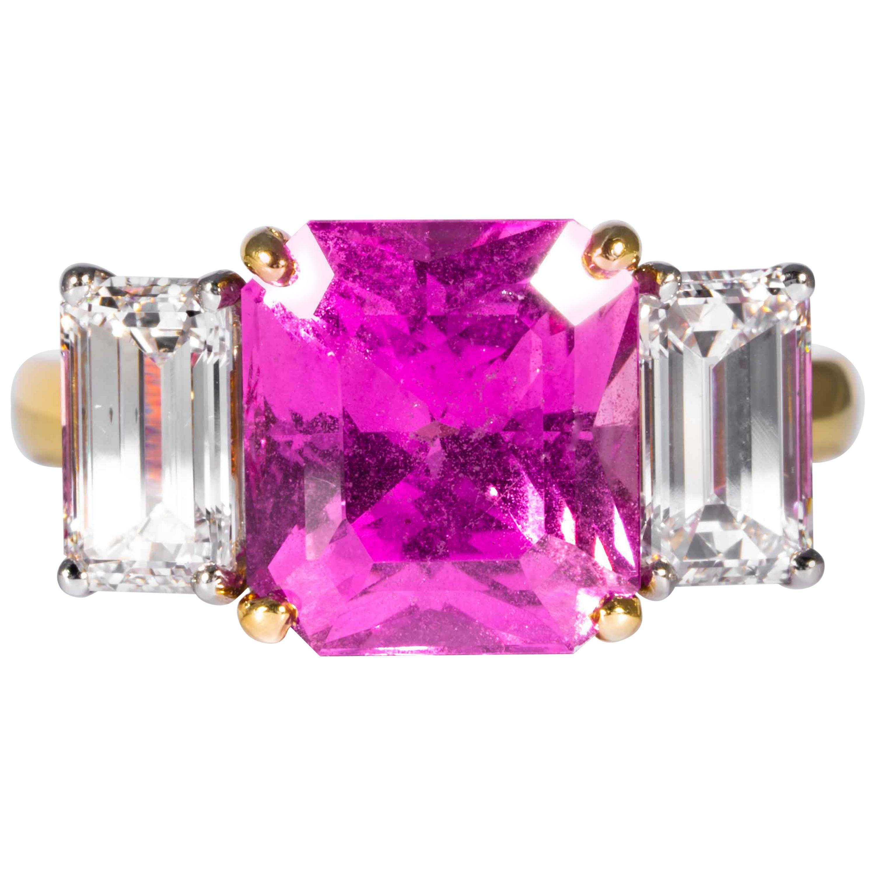 Shreve, Crump & Low 6.13 Carat GIA Certified Pink Sapphire and Diamond Ring