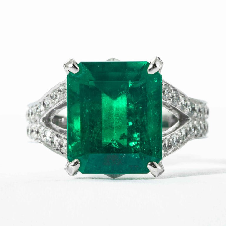 This emerald ring is offered by Shreve, Crump & Low. This green emerald cut emerald is custom set in a handcrafted Shreve, Crump & Low one-of-kind 18kt white gold ring, consisting of one green emerald cut emerald weighing 6.25 carats of Colombian
