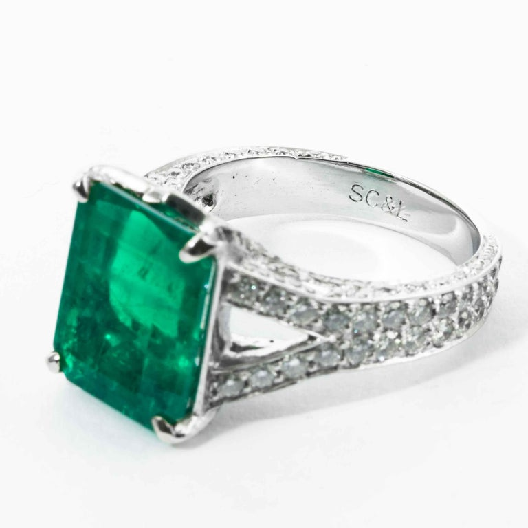 Emerald Cut Shreve, Crump & Low 6.25 Carat Colombian Emerald and Diamond White Gold Ring For Sale