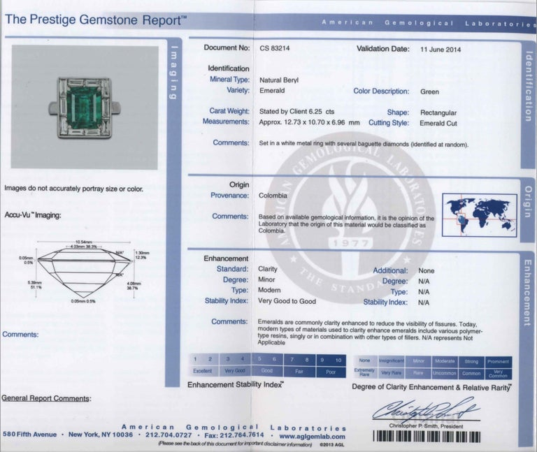 Shreve, Crump & Low 6.25 Carat Colombian Emerald and Diamond White Gold Ring For Sale 4