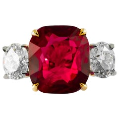 Shreve, Crump & Low 9.13 Carat Red Cushion Cut Ruby and Diamond 3-Stone Ring