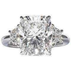 Shreve, Crump & Low AGS Certified 5.29 Carat D SI2 Cushion Cut Diamond Plat Ring