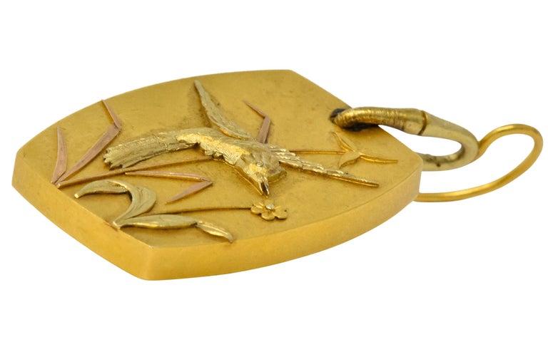 Shreve Crump & Low Art Nouveau 14 Karat Tri-Colored Gold Hummingbird Earrings For Sale 2