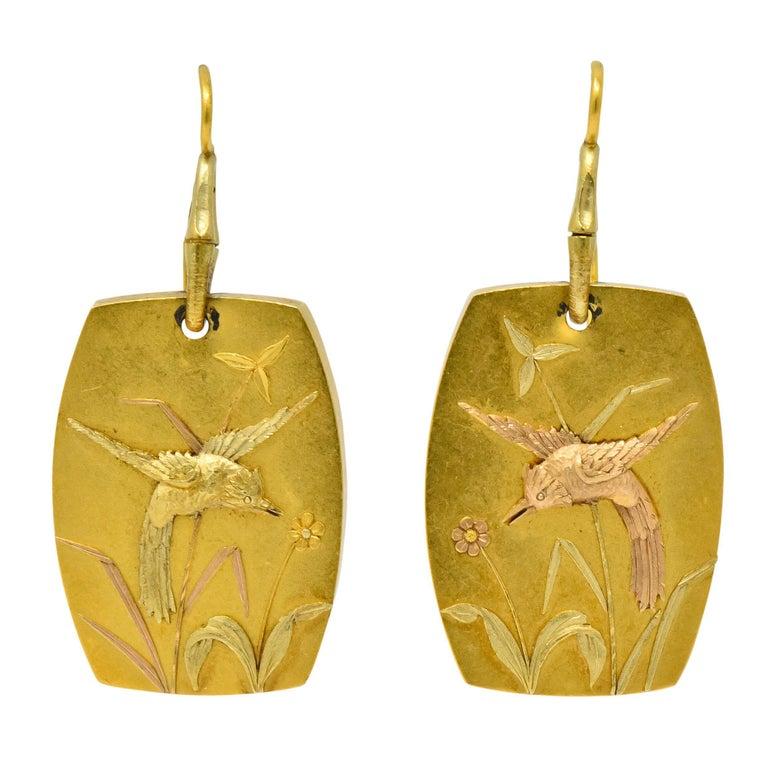 Shreve Crump & Low Art Nouveau 14 Karat Tri-Colored Gold Hummingbird Earrings For Sale