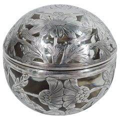 Shreve, Crump & Low Art Nouveau Silver Overlay Globular Inkwell