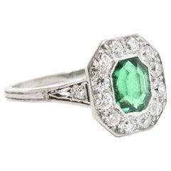 Shreve Crump & Low Edwardian Colombian Emerald Diamond Platinum Ring