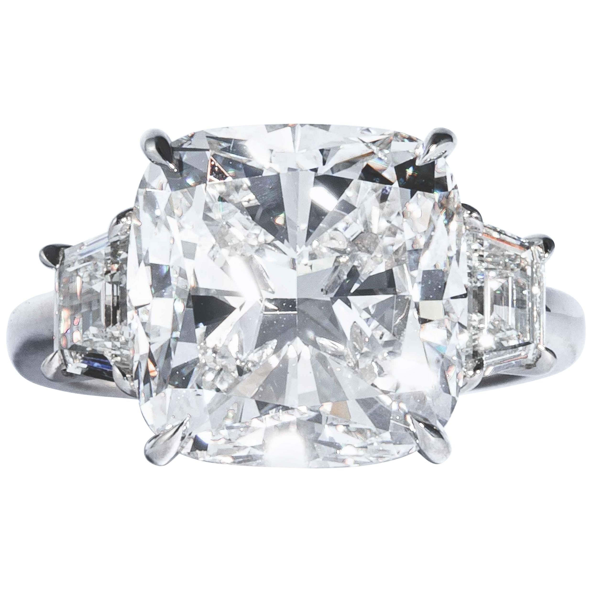 Shreve, Crump & Low GIA Certified 10.01 Carat G SI1 Cushion Cut Diamond Ring