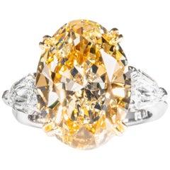 Shreve, Crump & Low GIA Certified 10.09 Carat Fancy Yellow Oval Diamond Ring