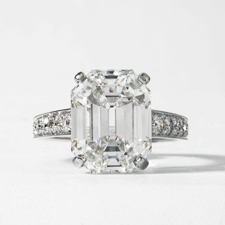 This diamond ring is offered by Shreve, Crump & Low. This 10.19 carat GIA Certified H VS2 emerald cut diamond measuring 14.18 x 10.93 x 7.44 mm is custom set in a handcrafted Shreve, Crump & Low platinum solitaire ring. The 10.19 carat emerald cut