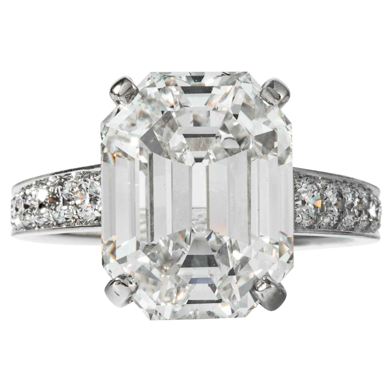 Shreve, Crump & Low GIA Certified 10.19 Carat H VS1 Emerald Cut Diamond Ring