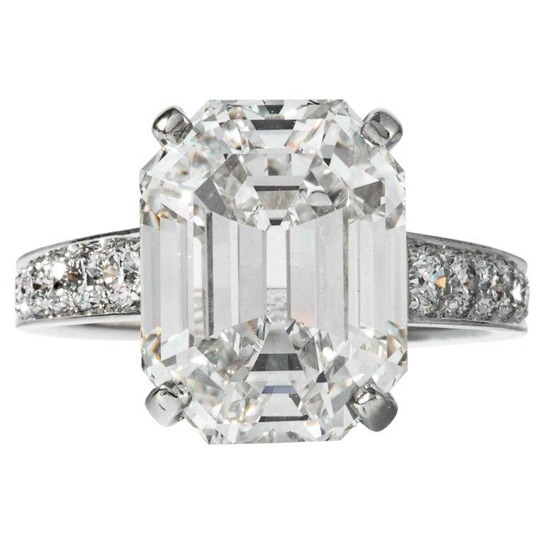Shreve, Crump & Low GIA Certified 10.19 Carat H VS1 Emerald Cut Diamond Ring For Sale