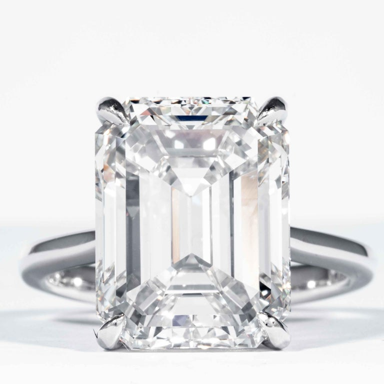Shreve, Crump & Low GIA Certified 10.21 Carat K VVS2 Emerald Cut Diamond Ring In New Condition For Sale In Boston, MA