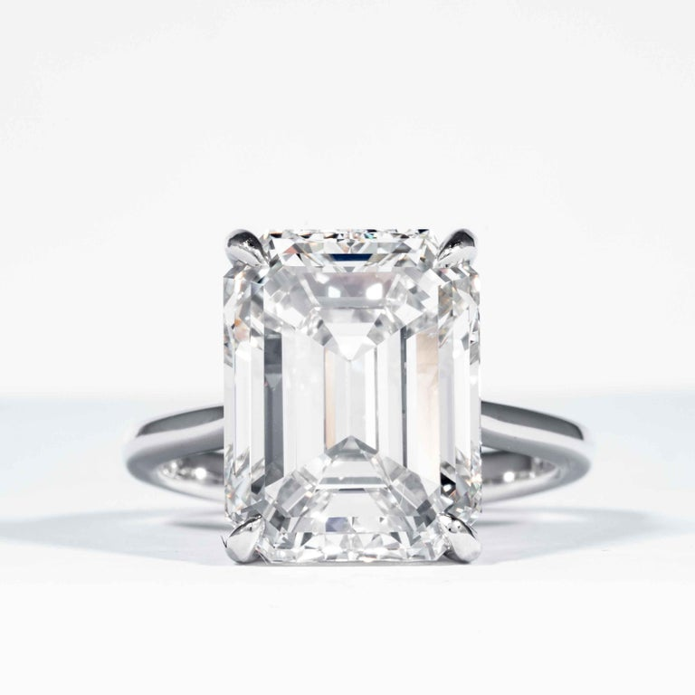 This diamond ring is offered by Shreve, Crump & Low. This 10.21 carat GIA Certified K VVS2 Emerald cut diamond measuring 14.07 mm x 10.70 mm x 7.38 mm is custom set in a handcrafted Shreve, Crump & Low platinum solitaire ring. The 10.21 emerald cut