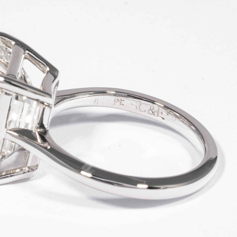 Shreve, Crump & Low GIA Certified 10.21 Carat K VVS2 Emerald Cut Diamond Ring For Sale 1