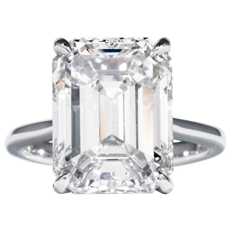 Shreve, Crump & Low GIA Certified 10.21 Carat K VVS2 Emerald Cut Diamond Ring For Sale