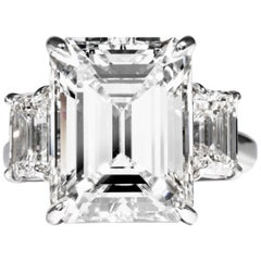 Shreve, Crump & Low GIA Certified 10.75 Carat K VS2 Emerald Cut Diamond Ring