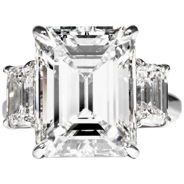 Shreve, Crump & Low GIA Certified 10.75 Carat K VS2 Emerald Cut Diamond Ring For Sale