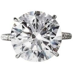 Shreve, Crump & Low GIA Certified 10.77 Carat F VS1 Round Brilliant Diamond Ring