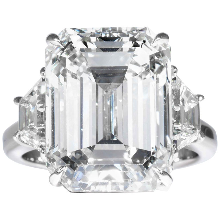 Shreve, Crump & Low GIA Certified 13.26 Carat K VS2 Emerald Cut Diamond Ring For Sale