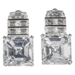 Shreve, Crump & Low GIA Certified 18.21 Carat Asscher Cut Diamond Drop Earrings