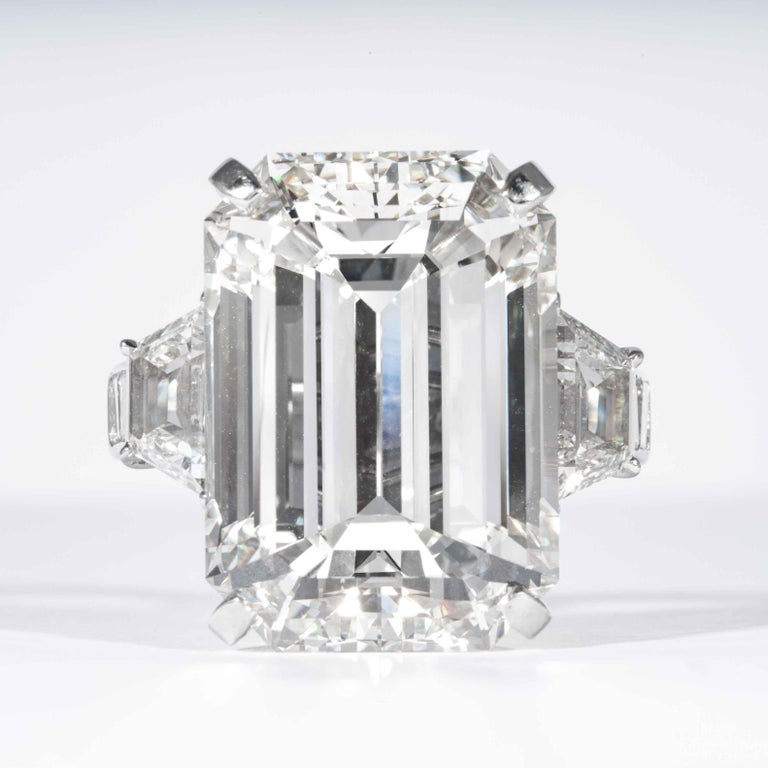 Shreve, Crump & Low is proud to offer this important and impressive 22.02 carat GIA certified J VS2 Emerald cut diamond ring. The ring consists of one emerald cut diamond weighing 22.02 carat accompanied by a GIA report No. 2155417953. The 22.02