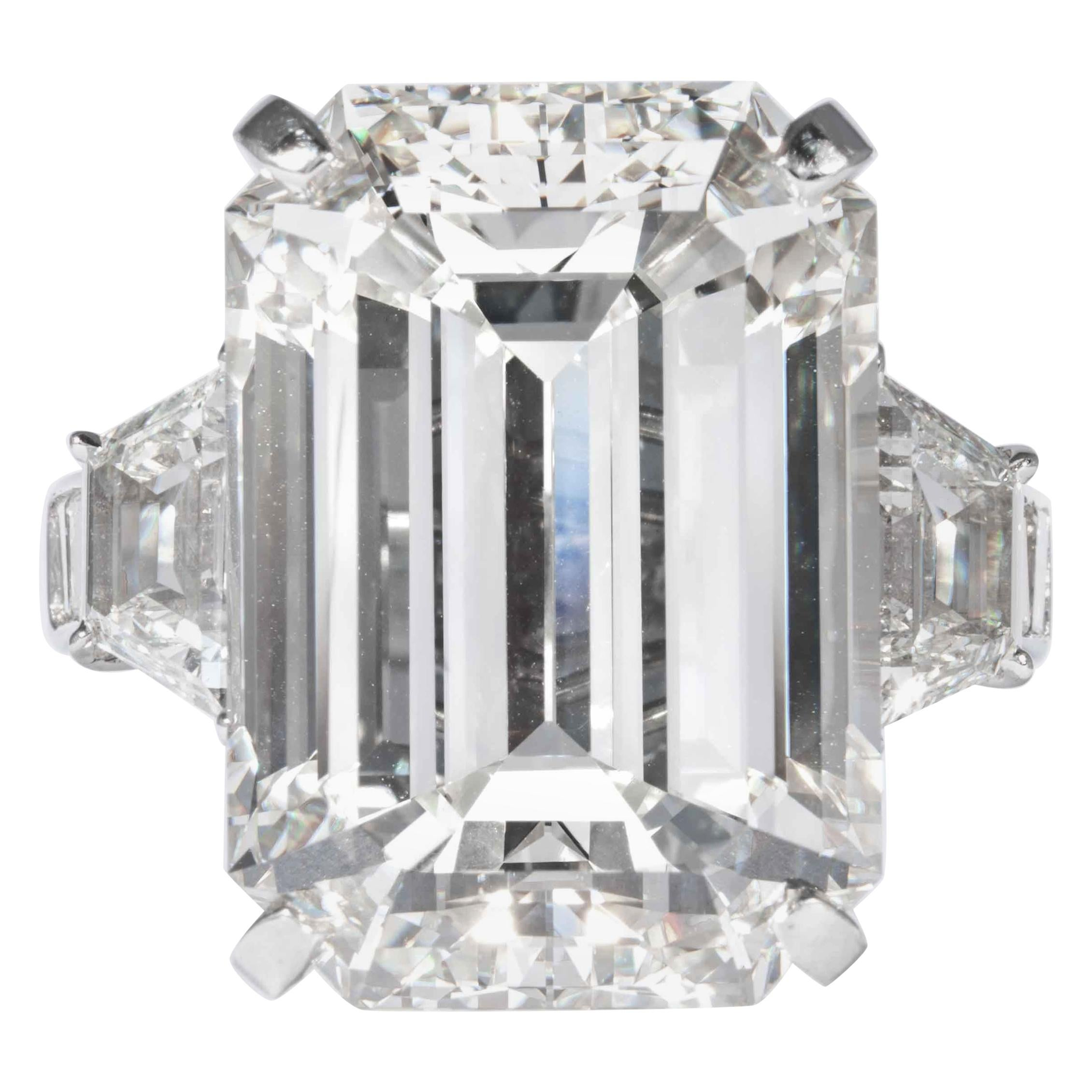 Shreve, Crump & Low GIA Certified 22.02 Carat J VS2 Emerald Cut Diamond Ring