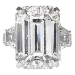 Shreve, Crump & Low GIA Certified 22.02 Carat J VS2 Emerald Cut Diamond Ring