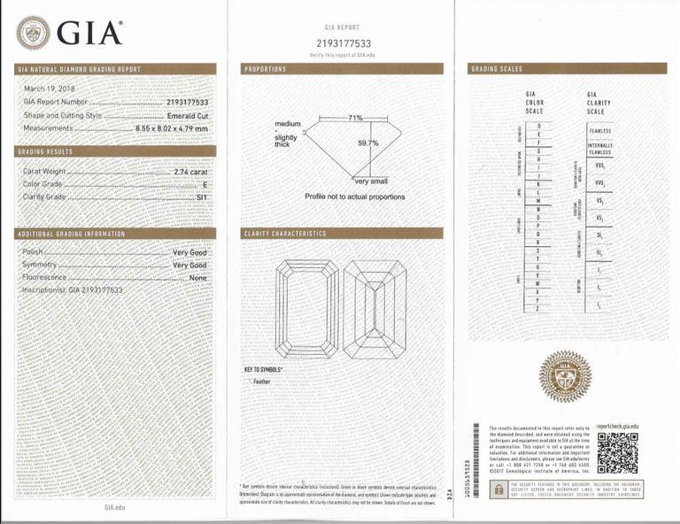 Shreve, Crump & Low GIA Certified 2.74 Carat E SI1 Emerald Cut Diamond Ring For Sale 5