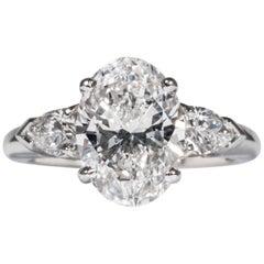 Shreve, Crump & Low GIA Certified 3.20 Carat D SI1 Oval Cut Diamond 3-Stone Ring