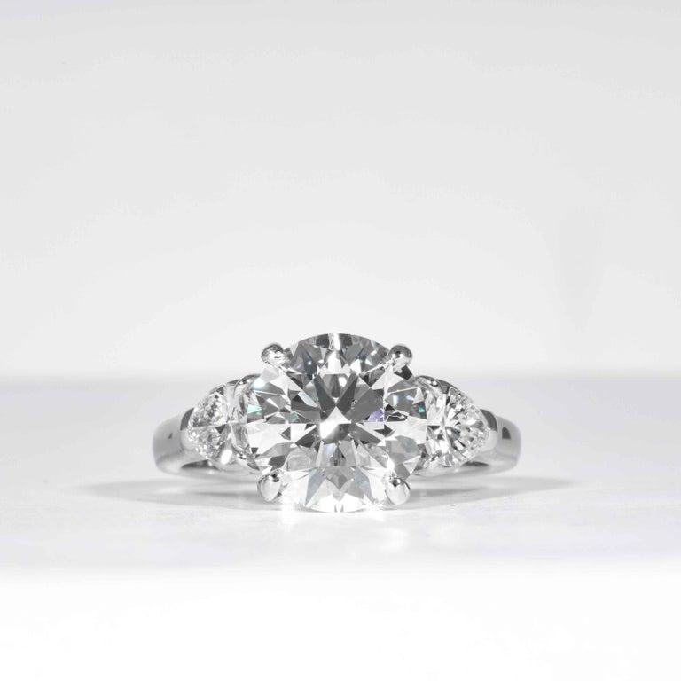 Round Cut Shreve, Crump & Low GIA Certified 3.23 Carat E VVS2 Round Brilliant Diamond Ring For Sale