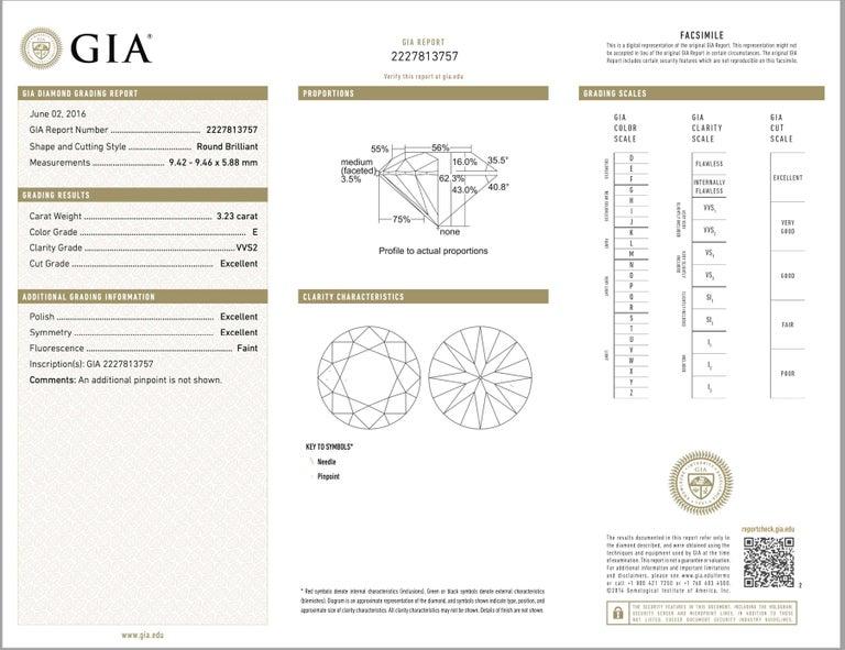 Shreve, Crump & Low GIA Certified 3.23 Carat E VVS2 Round Brilliant Diamond Ring For Sale 4