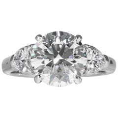 Shreve, Crump & Low GIA Certified 3.23 Carat E VVS2 Round Brilliant Diamond Ring