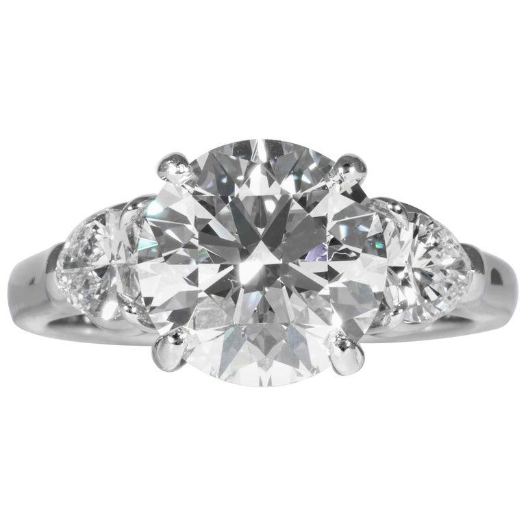 Shreve, Crump & Low GIA Certified 3.23 Carat E VVS2 Round Brilliant Diamond Ring For Sale