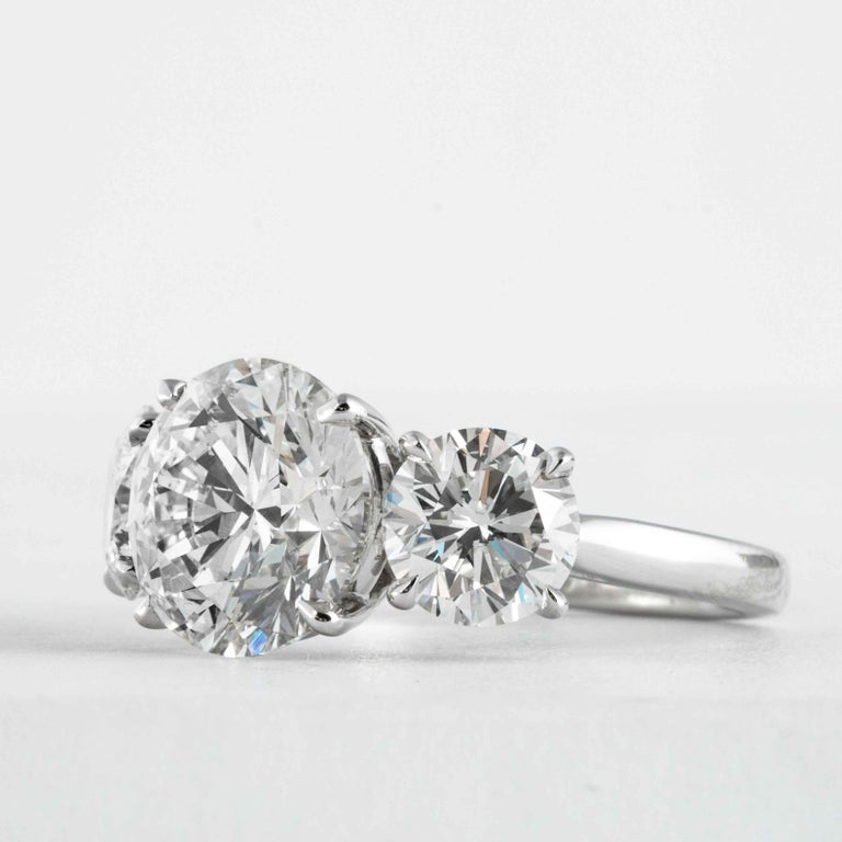 Round Cut Shreve, Crump & Low GIA Certified 3.51 Carat H SI1 Round Brilliant Diamond Ring For Sale