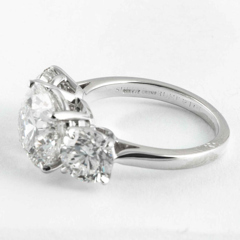 Shreve, Crump & Low GIA Certified 3.51 Carat H SI1 Round Brilliant Diamond Ring In New Condition For Sale In Boston, MA