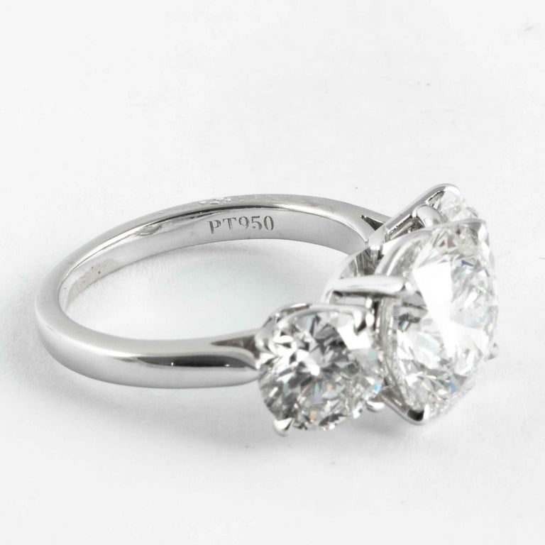 Women's Shreve, Crump & Low GIA Certified 3.51 Carat H SI1 Round Brilliant Diamond Ring For Sale