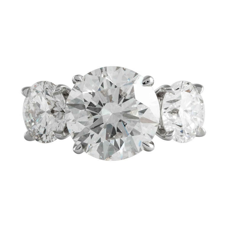 Shreve, Crump & Low GIA Certified 3.51 Carat H SI1 Round Brilliant Diamond Ring For Sale