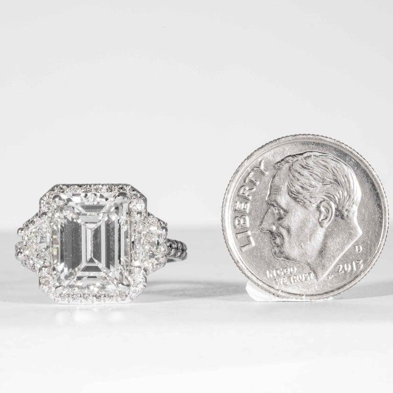 Shreve, Crump & Low GIA Certified 4.01 Carat G VVS2 Emerald Cut Diamond Ring For Sale 3