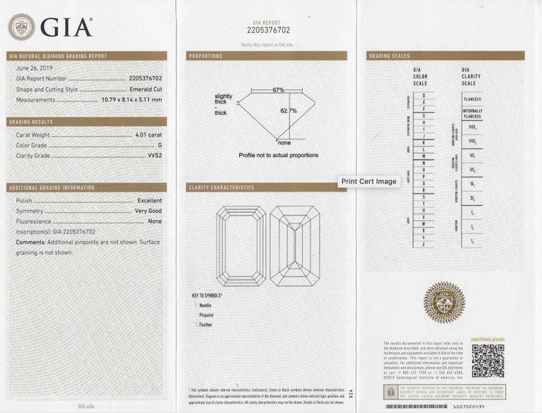 Shreve, Crump & Low GIA Certified 4.01 Carat G VVS2 Emerald Cut Diamond Ring For Sale 4