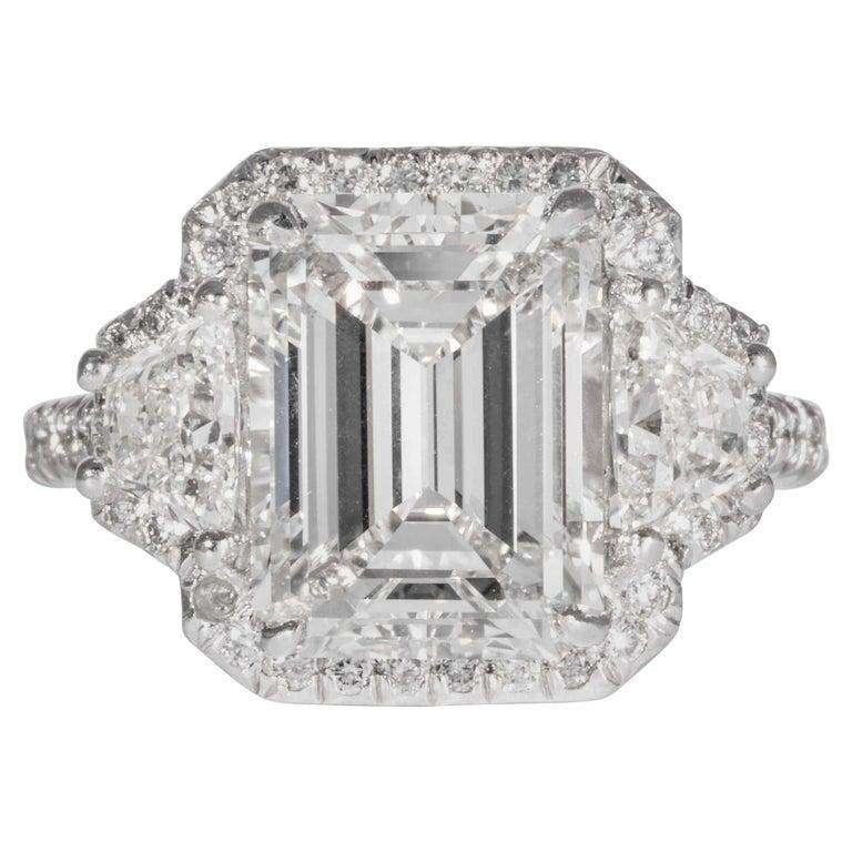 Shreve, Crump & Low GIA Certified 4.01 Carat G VVS2 Emerald Cut Diamond Ring For Sale