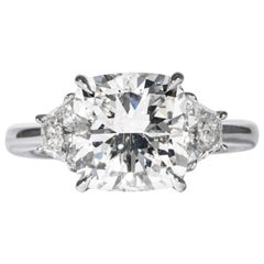 Shreve, Crump & Low GIA Certified 4.05 Carat G SI2 Cushion Cut Diamond Plat Ring
