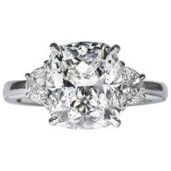 Shreve, Crump & Low GIA Certified 4.10 Carat E SI1 Cushion Cut Diamond Plat Ring