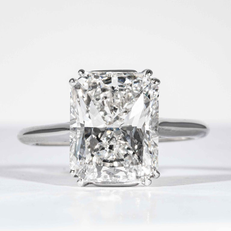This diamond ring is offered by Shreve, Crump & Low. This 4.50 carat GIA certified F VS2 radiant cut diamond measuring 10.66 x 8.75 x 5.93mm is custom set in a classically handcrafted Shreve, Crump & Low platinum solitaire ring. The 4.50 carat