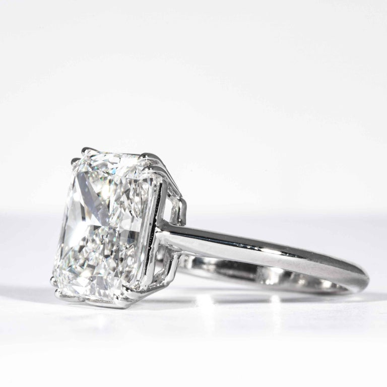 Shreve, Crump & Low GIA Certified 4.50 Carat F VS2 Radiant Cut Diamond Plat Ring In New Condition For Sale In Boston, MA
