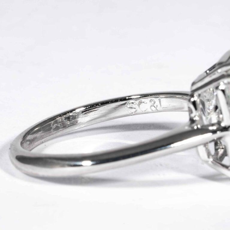 Shreve, Crump & Low GIA Certified 4.50 Carat F VS2 Radiant Cut Diamond Plat Ring For Sale 2