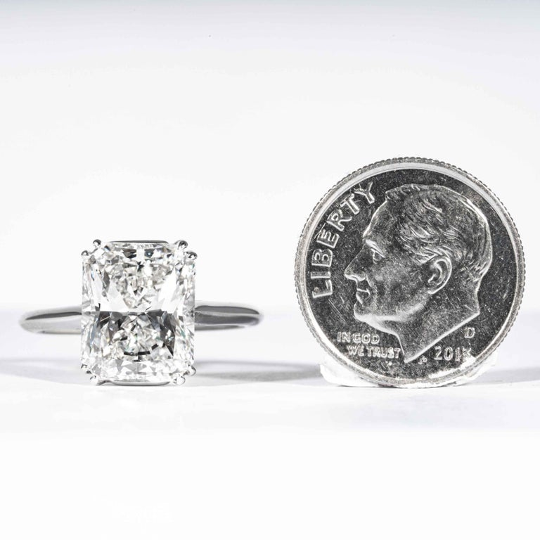 Shreve, Crump & Low GIA Certified 4.50 Carat F VS2 Radiant Cut Diamond Plat Ring For Sale 4