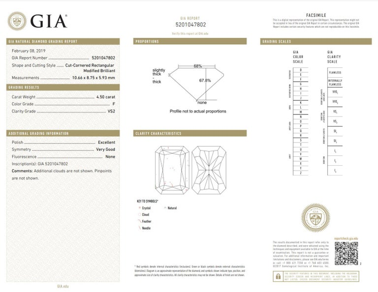 Shreve, Crump & Low GIA Certified 4.50 Carat F VS2 Radiant Cut Diamond Plat Ring For Sale 5