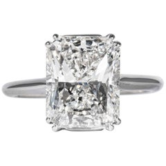 Shreve, Crump & Low GIA Certified 4.50 Carat F VS2 Radiant Cut Diamond Plat Ring