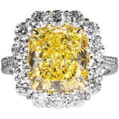 Shreve, Crump & Low GIA Certified 4.74 Carat Fancy Intense Yellow Cushion Ring