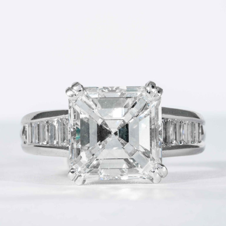 This classic square emerald cut diamond ring is offered by Shreve, Crump & Low. This 5.01 carat GIA Certified I VS2 square emerald cut diamond measuring 9.83 x 9.83 x 6.46 mm is custom set in a handcrafted Shreve, Crump & Low platinum ring. The 5.01